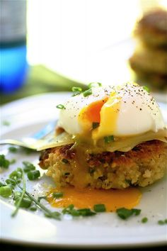 Quinoa Cakes with Poached Egg.  This is sooooo yummy! Used a soft fried egg instead of poached.  We added Lemon Pepper to the top of the patty.  Made extra patties for quick breakfast for other days & found they reheated well.