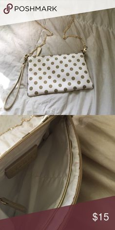 """Charming Charlie Polka Dot wristlet/cross body removable chain to make this small bag versatile! gold polka dots on a white background. some gentle use (small mark on the inside) but in otherwise like-new condition! 6"""" x 9.5"""" Charming Charlie Bags"""
