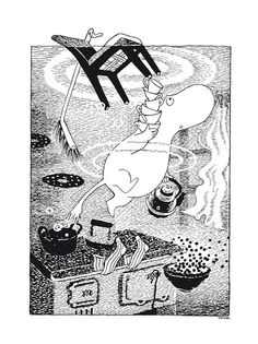 Moomin Poster Flooded Kitchen Tove Jansson 50 x 70 cm - Finland Quality Design Moomin House, Moomin Books, Tove Love, Childhood Stories, Kitchen Posters, Tove Jansson, Doodle Inspiration, Graphic Illustration, Illustrations