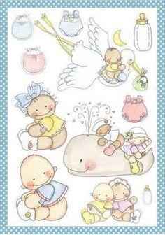 Laminas de decoupage - Imagenes y dibujos para imprimirTodo en ... Shower Bebe, Baby Boy Shower, Baby Shawer, Baby Love, Baby Cards, Kids Cards, Baby Mini Album, Baby Shower Clipart, Baby Boy Themes
