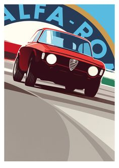 Alfa Romeo's Sports Sedan is a Future Classic: HagertyThe 2017 Alfa Romeo Giulia Quadrifoglio has Alfa Romeo Gta, Alfa Romeo Giulia, Vintage Racing, Vintage Cars, Auto Illustration, Design Garage, Car Prints, Car Vector, Car Posters