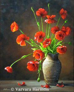 Poppies, Original floral oil painting by Varvara Harmon