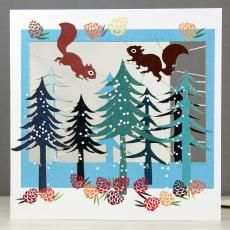 squirrels in forest glitter christmas card