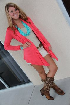 <3 cute summer outfit! Boots, cardigan, shorts