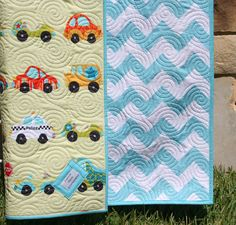 Chevron Boy Quilt Baby Blanket Transportation by SunnysideDesigns2, $139.00