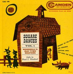 Square Dances Vol. 1, Woodhull's Old Tyme Masters – vintage album cover by Jim Flora