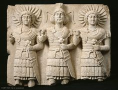 The Divine Triad   Louvre Museum   Paris,First half of the first century AD,Bir Wereb, in the vicinity of Palmyra, Syria.  The triad of Ba'alshamin, Aglibol, and Malakbel .