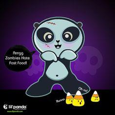 panda zombie  lil'panda halloween www.lilpanda.com