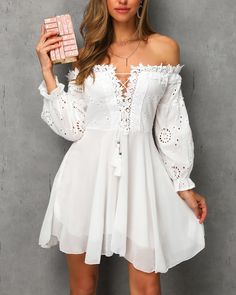 Off Shoulder Lace Up Crochet Lace Dress Shop Women's Trendy Clothes Online. Buy More, Save More. Latest & New Styles. Dresses Elegant, Pretty Dresses, Beautiful Dresses, Sexy Dresses, Casual Dresses, Short Dresses, Fashion Dresses, Summer Dresses, Simple Dresses