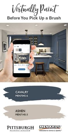 Navy Blue Cabinet Inspiration | Digitally paint your own kitchen cabinets, in just a few clicks! Upload your picture to find the perfect color combination for your next painting project.
