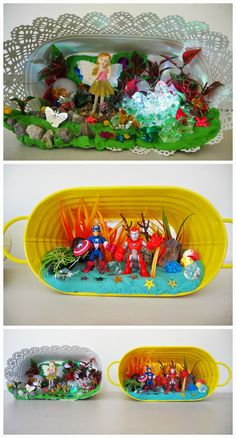 Learn with Play at Home: 5 Creative Inside Activities for Kids, including this different take on a fairy/superhero garden.