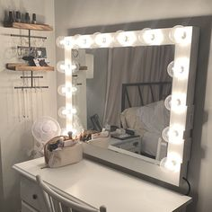 Low shipping & financing Vanity Mirror with lights Diy Vanity Mirror With Lights, Light Up Vanity, Bulb Mirror, Led Makeup Mirror, Diy Mirror, Mirror Ideas, Small Vanity, Small Mirrors, Ikea Vanity Table