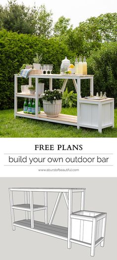 Summer entertaining is easy with this beautiful DIY outdoor bar + free plans.