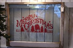 Great idea for Christmas decor with an old window.Would love it to say Now dacher,now dancer,now prancer and vixen, on comet,on cupit dawner and blitzen