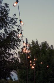 DIY poles out of electrical conduit---Bright July: {DIY}: Outdoor String Lights Edison Lighting, Patio Lighting, Lighting Ideas, Club Lighting, Exterior Lighting, Landscape Lighting, String Lights Outdoor, String Lighting, Gardens