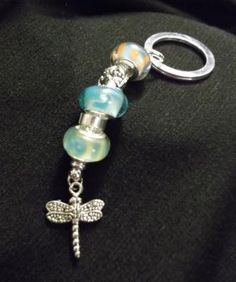 Dragonfly Murano Bead key chain