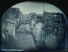 The Barricade in rue Saint-Maur-Popincourt before the attack by General Lamoricière's troops, Sunday 25 June ('June Days Uprising') daguerreotype by Thibault (Barricades in Paris Old Pictures, Old Photos, Rue Rivoli, Tour Eiffel, Image Paris, Old Paris, Old Photography, I Love Paris, French Revolution
