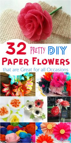 32 Pretty DIY Paper Flowers that are Great for all Occasions Who doesn't love pretty flowers? But, like all other living things, flowers eventually die. That is what makes these Pretty DIY Paper Flowers so much fun! Wine Bottle Crafts, Mason Jar Crafts, Mason Jar Diy, Paper Flowers Diy, Flower Crafts, Flower Diy, Handmade Flowers, Diy Crafts To Sell, Crafts For Kids