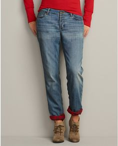 THE best investment I made this winter - SO toasty warm! Boyfriend FLANNEL LINED Jeans by Eddie Bauer