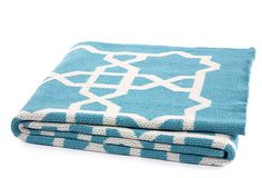 One Kings Lane - Color Your Bed - Fretwork Throw, Cerulean