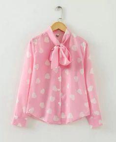Vintage Bow-tie Love Heart Print Blouse - Chiffon Blouse - Shirts & Blouses - Tops - Clothing