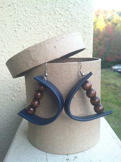 Handmade Wood Earrings   Handmade Wood Bead and Blue Leather Earrings by SageInspired