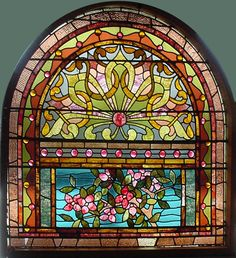 Antique American Floral Arched Stained and Jeweled Glass Window x * arch portion Antique Stained Glass Windows, Stained Glass Designs, Stained Glass Panels, Leaded Glass, Beveled Glass, Stained Glass Art, Mosaic Glass, Painting On Glass Windows, Art Du Monde