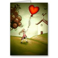 size: Giclee Print: Girl Flying a Heart Balloon by Cherie Roe Dirksen : Vintage Valentine Cards, Valentine Day Cards, Heart Balloons, Kite, Heart Shapes, Framed Artwork, Find Art, Giclee Print, Greeting Cards
