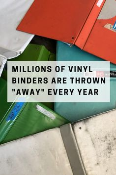 Vinyl binders have never been recycled in any meaningful capacity and never will be. Binder recycling schemes exist to encourage the continued guilt-free purchase of more vinyl binders, meanwhile, tens of millions of them are landfilled every year (in the U.S. alone). Ours is the only binder on the market with a removable, replaceable, recyclable cover. Click below and help keep binders out of landfill, for good.