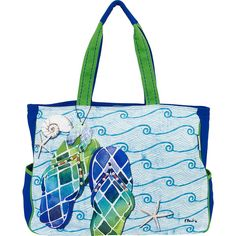 Sun 'N' Sand Paul Brent Artistic Canvas Tote - Blue Wave Flip Flops - Totes ($34) found on Polyvore featuring women's fashion, bags, handbags, tote bags, blue, canvas purse, white tote bag, zip top tote, zip top canvas tote bag and white handbag