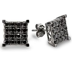 White Gold Black Round Diamond Square Stud Earrings ►► http://www.gemstoneslist.com/jewelry/black-diamond-earrings.html?i=p