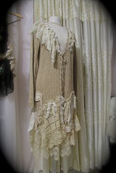 Long Doily Sweater coat - shabby doilies tattered laces magnolia shabbys chic refashioned altered clothing