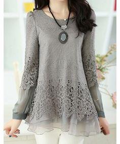 Sweet Scoop Neck Lace Splicing Long Sleeve Women's T-Shirt