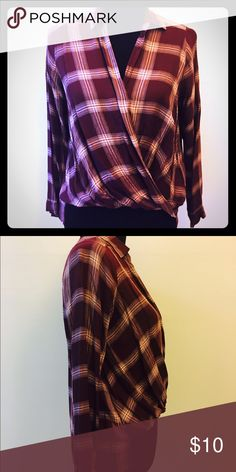 Perfect in Plaid Loose cotton blouse with plunging neckline and knotted front. Wearable with hight waisted anything  or put a tank top underneath and pair it with boyfriend jeans and a long jacket! Cute! American Apparel Tops Blouses