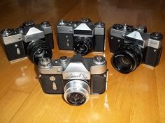 Vintage Camera - Zenit Silver Collection    Made in USSR    (1962. - 1970.) - Zenit 3M    (1966. - 1986.) - Zenit E    (1968.) - Zenit B    (1972. - 1984.) - Zenit EM - Moskva Olimpic Games     ...<3