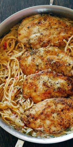 Chicken Pasta In Creamy White Wine Parmesan Cheese Sauce By cookingclassy.us Chicken Pasta in Creamy White Wine Parmesan Cheese Sauce will r. Italian Chicken Pasta, Italian Chicken Recipes, Chicken Pasta Dishes, Pasta Recipes With Chicken, Meals With Chicken Breast, Italian Dinner Recipes, Chicken Breast Recipes Dinners, Chicken Salad, Food Recipes For Dinner