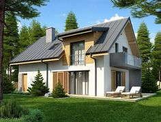 Proiect de casa cu terasa acoperita la mansarda New House Plans, Home Design Plans, Design Case, Home Fashion, Bungalow, New Homes, Villa, House Design, Mansions