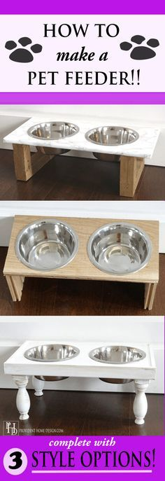 I aways wanted one of these but they are too expensive in the stores!  3 different DIY pet feeder options-  Modern, Rustic, and Traditional!!  Step by step instructions.