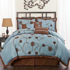 7 Piece Flourish Comforter Set in Blue