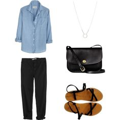 A fashion look from January 2013 featuring lightweight shirt, pantalon décontracté et flats sandals. Browse and shop related looks.