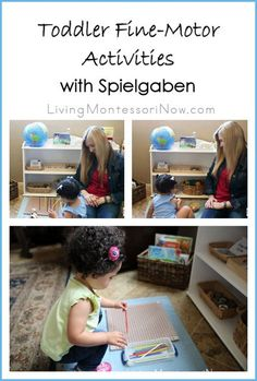 Ideas for Montessori-inspired fine-motor activities for toddlers using Spielgaben educational toys. Post includes YouTube video and Montessori Monday permanent collection.