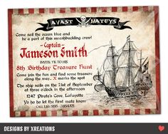 Pirate Invitation - Customizable wordings and texts - Print your own - Digital file by PinkPaperTrail on Etsy