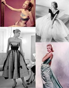 key words when emanating Grace Kelly style are sophisticated, demure, and feminine. she was known for wearing light, airy fabrics, like chiffon, silk, and tulle. dresses emphasized her tiny waist and shoulders, so strapless, off-the-shoulder necklines, and spaghetti straps are encouraged. her look was simple, clean, and modest, but stunning at the same time.