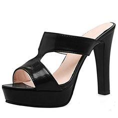 20da7a3f11d3b RAZAMAZA Femmes Mode Peep Toe Bloc Mules Sandales Talons Hauts Plateforme  Chaussures (33 EU Black
