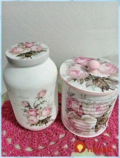 Decoupage Jars, Decoupage Furniture, Decoupage Vintage, Decoupage Ideas, Diy Bottle, Bottle Art, Bottle Crafts, Tin Can Crafts, Diy And Crafts