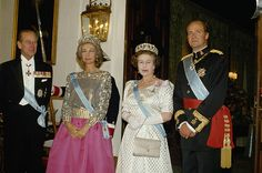 Queen Elizabeth II of Great Britain and King Juan Carlos of Spain with their respective spouses Prince Philip and Queen Sofia circa 1990