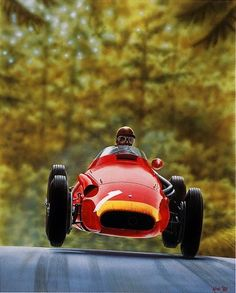 Juan Manuel Fangio driving a Maserati in 1957 at Nurburgring by Kane Rogers (limited edition print of number sold at a Bonham's auction for USD. Maserati, Cycle Kart, Carros Vw, Gp Moto, Classic Race Cars, Basketball Mom, Vintage Race Car, Indy Cars, Car And Driver