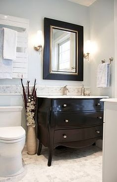 Check out the dresser/sink! Find More Accessories & Decorative Ideas for… Gorgeous Bathroom, Shabby Chic Dresser, Home, Dresser Sink, Bathroom, Cabin Design, Shabby Chic Bedrooms, Bathroom Decor, Bathroom Inspiration