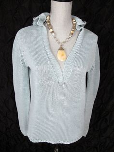 J Jill M Top Hooded Sweater Blue Cotton Knit Resort Cruise Wear Pullover Shirt #JJill #KnitTop #Casual #Tunic#everyday#Blouse#cruise#top#sweater#fashion#pullover#style#resort#hoodie#trend#summer#backtoschool#sale#deal