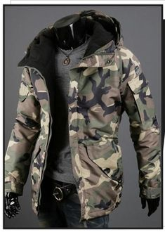 Men s Casual Camouflage Hooded Windproof Jacket Coat Camo Winter Jacket d14af71e7f8
